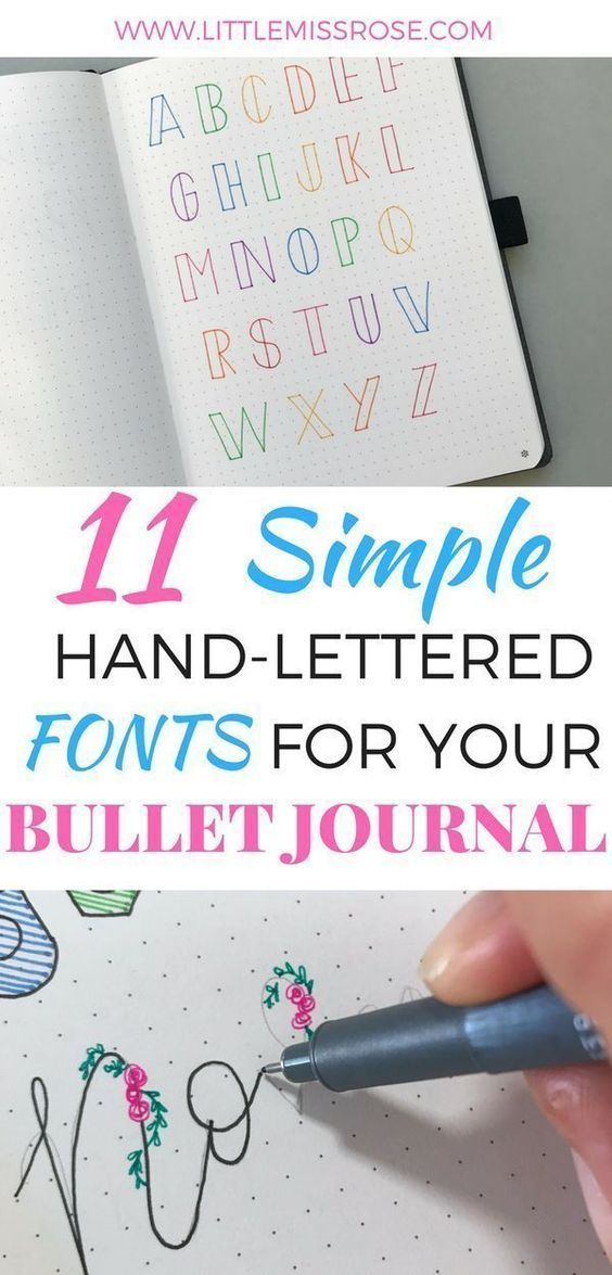 11 Simple Hand-Lettered Fonts For Your Bullet Journal | Little Miss Rose #lifestories