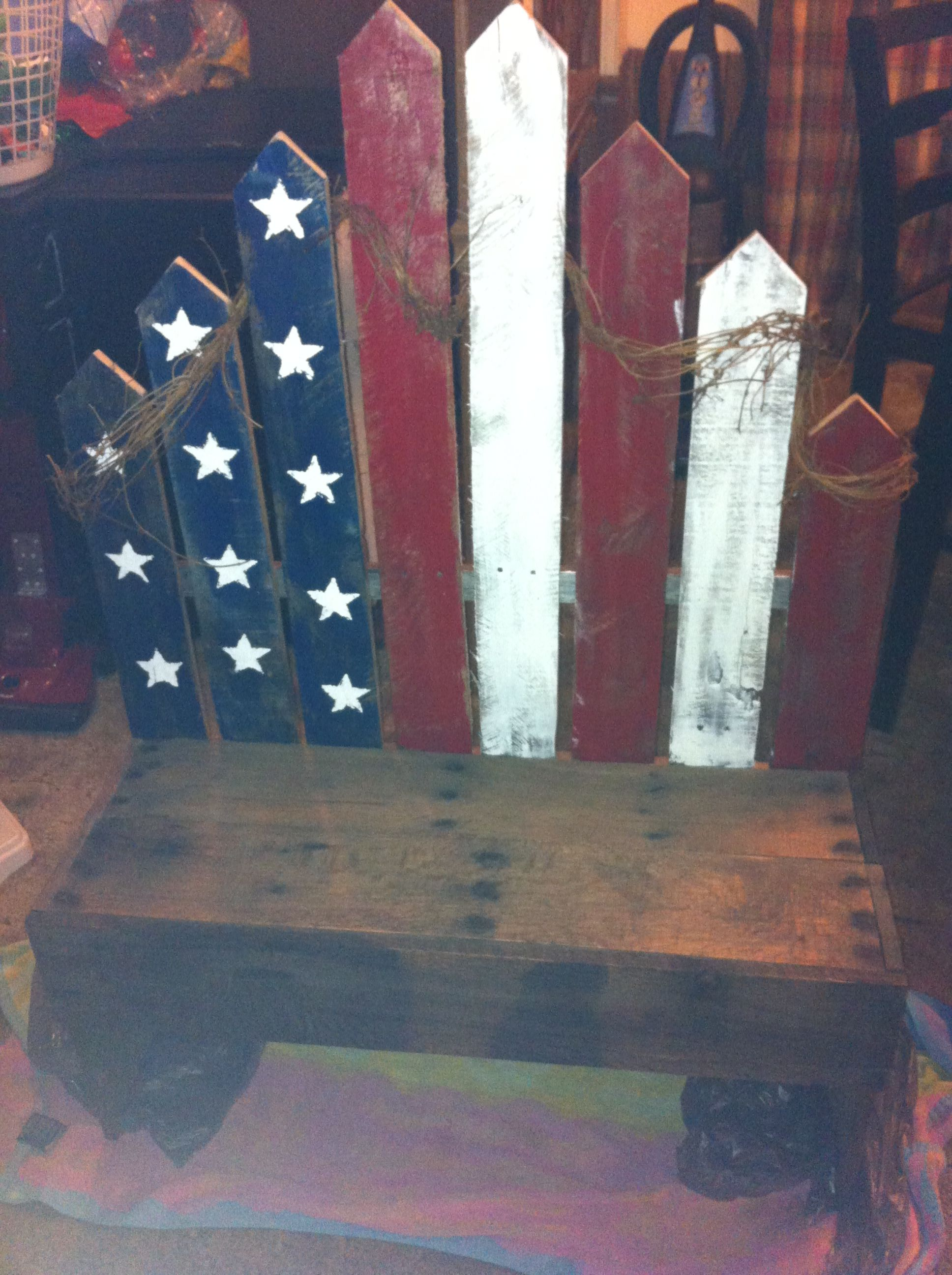 22cd28b53f06 Another Americana bench created using pallets. Find this Pin and more on American  Flag Projects ...