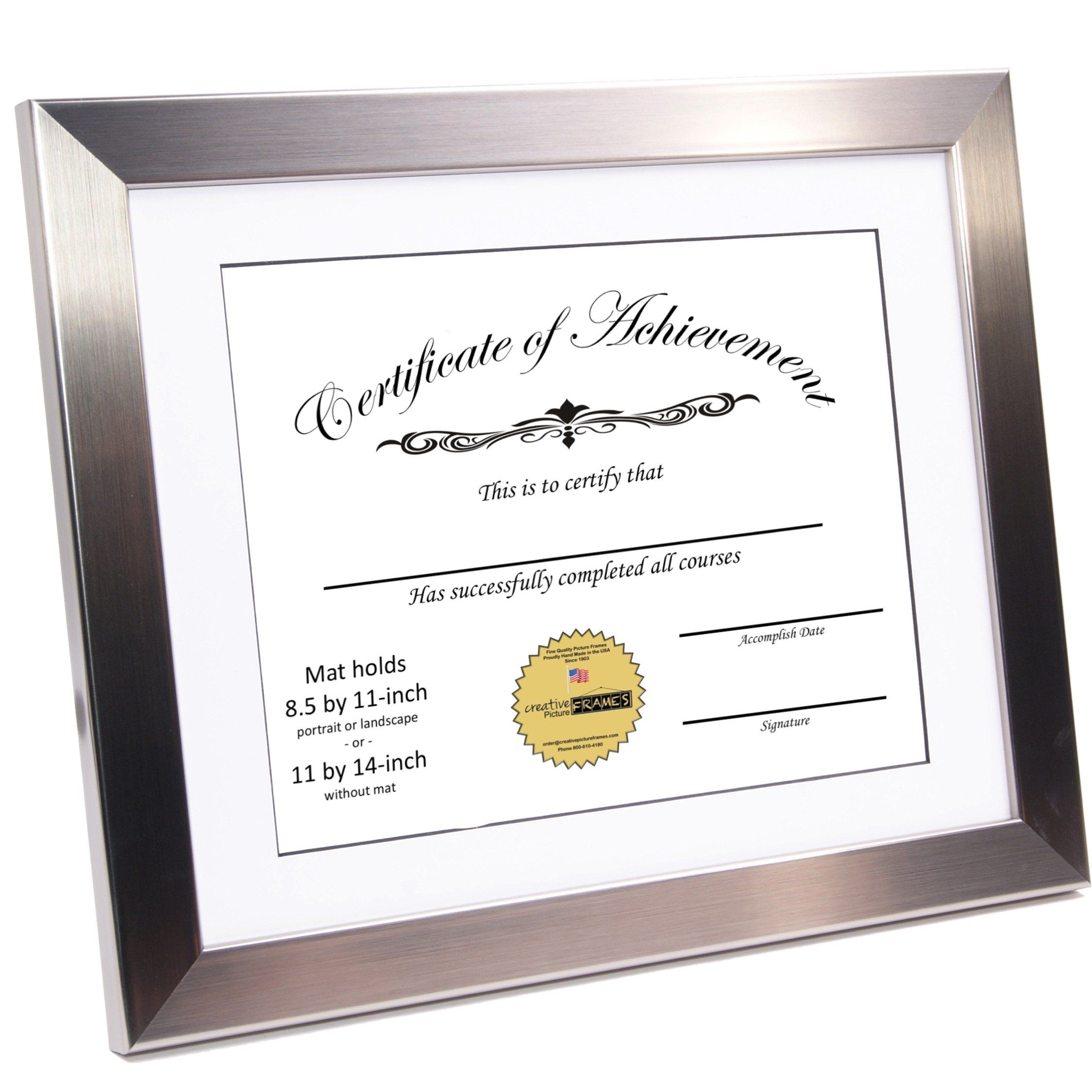 Creativepf Y8sh11x14ssw Stainless Steel Document Frame Displays 8 5 By 11inch With Mat Or 11 By 14inc Diploma Frame Display Document Frame Certificate Frames