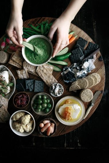 Spring Grazing Board with Kale & Sunflower Seed Dip     Gather & Feast