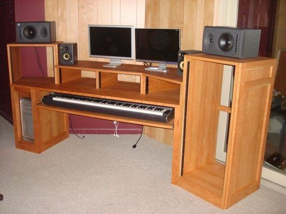 This Is Too Big But I Like The Idea Of The Midi Keyboard Sliding Under The Desktop Might Be Hard To Diy That Studio Desk Recording Studio Desk Console Desk
