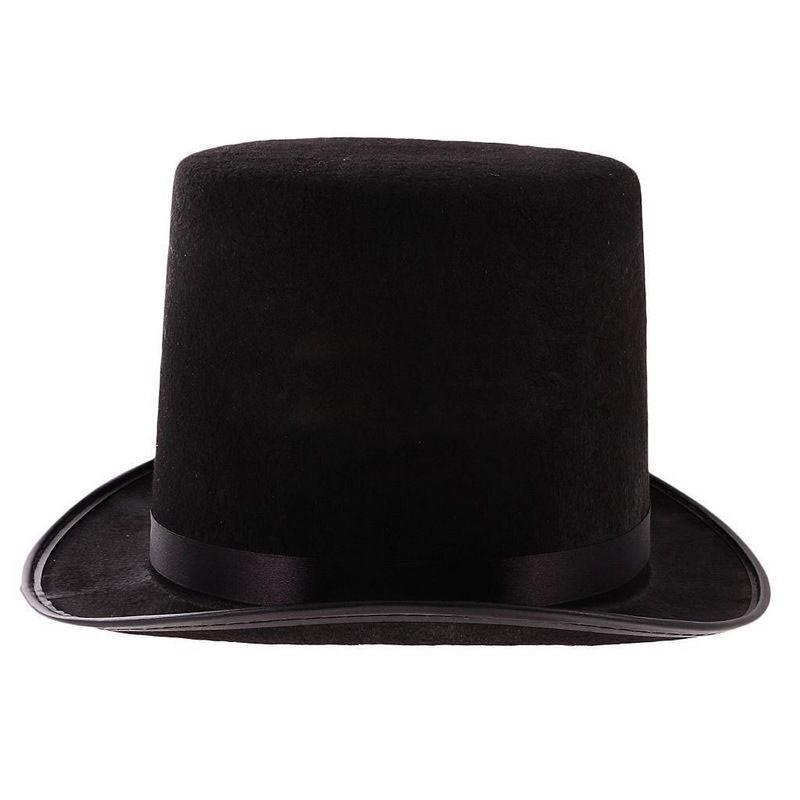 "Black Wool Felt Victorian Steampunk Extra Costume Magic Tall Top Hats 9/"" Topper"