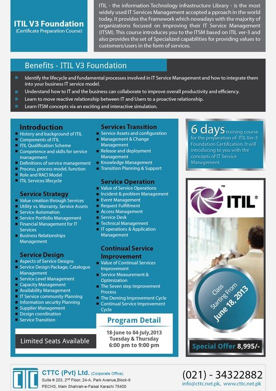 Itil 3v Foundation Course Itil The Information Technology Infrastructure Library Is The Most W Technology Infrastructure Information Technology Book Study