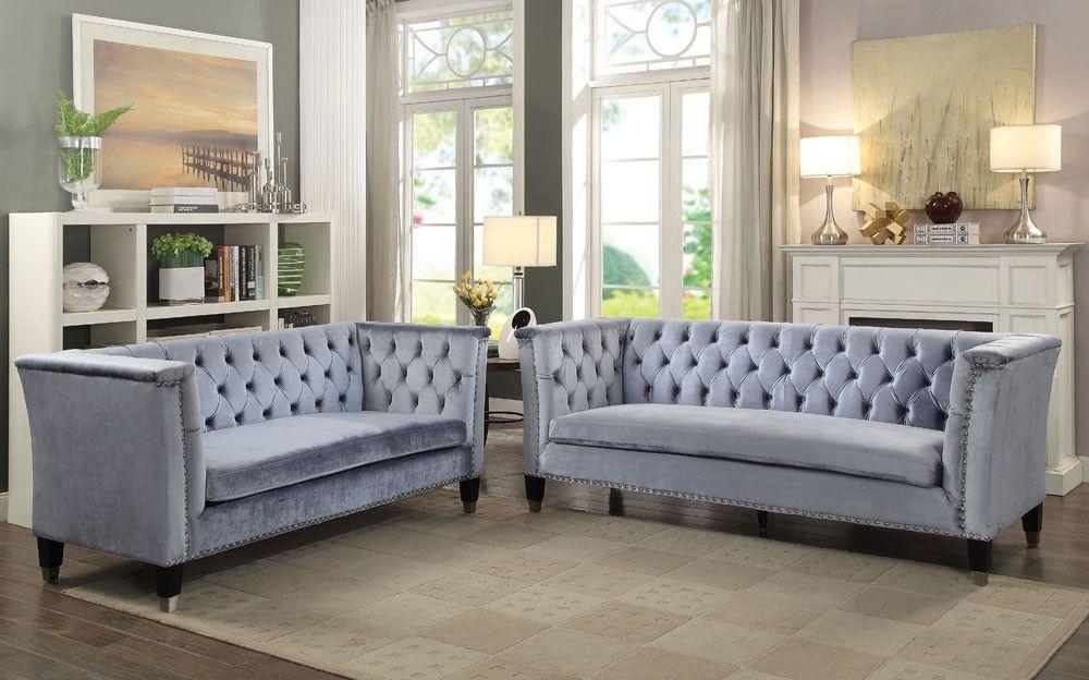 fermont tufted velvet sofa  sofa loveseat set living