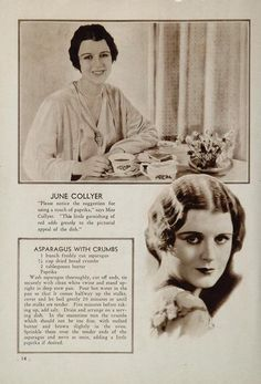 """June Collyer's Asparagus with Crumbs Recipe from """"Favorite Recipes of the Movie Stars"""" 