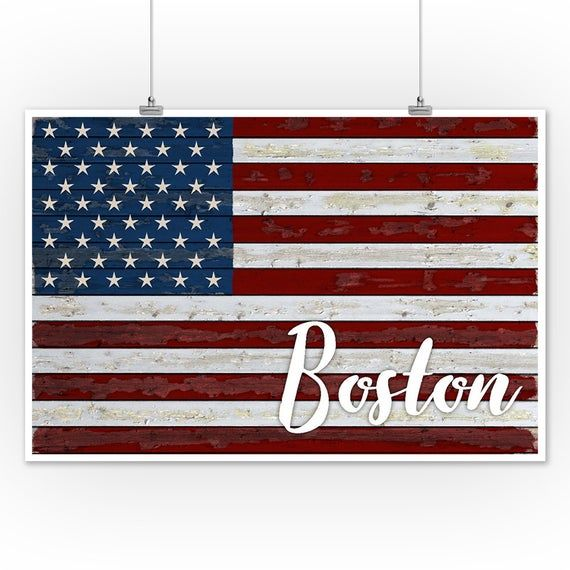 Boston, Massachusetts - Distressed Flag (Art Prints, Wood & Metal Signs, Canvas, Tote Bag, Towel) #americanflagart