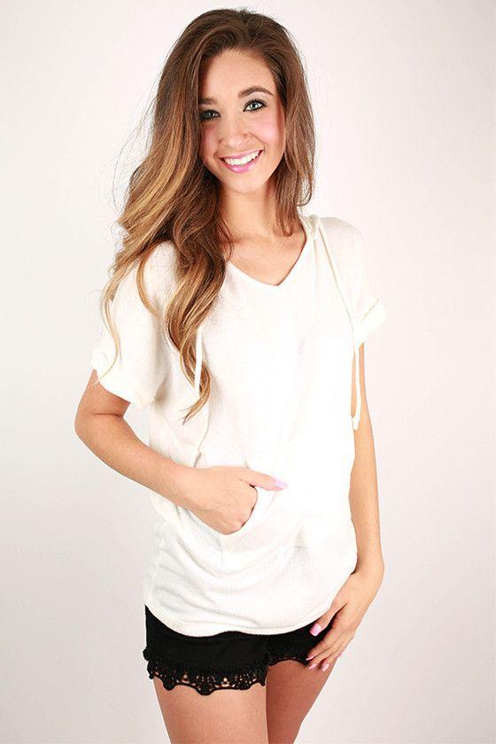 Luxe Love Short Sleeve Hoodie in Ivory