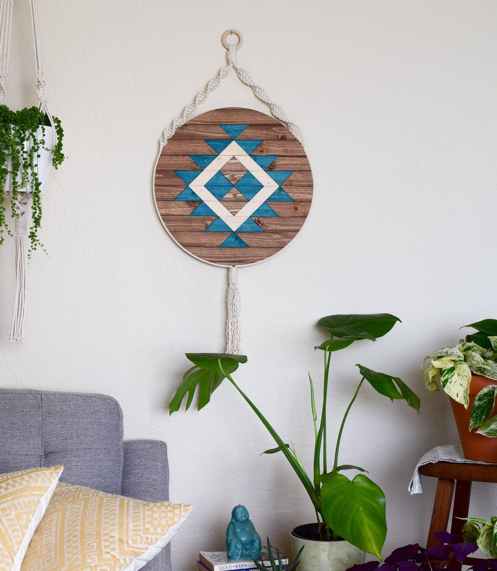 Ojai round macrame wood wall art hanging wood wall art wood