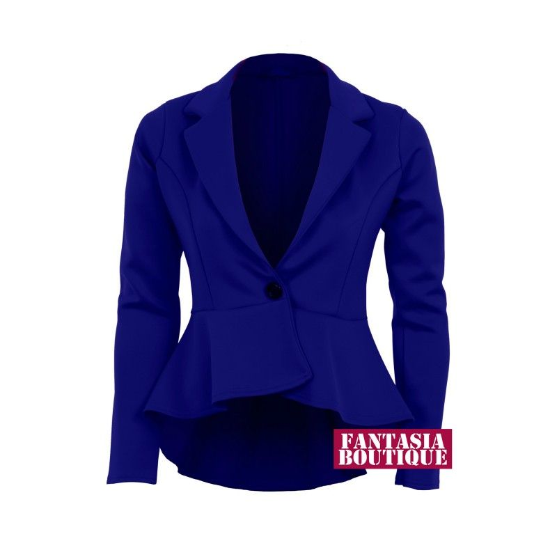 New Ladies Long Sleeve Frill Shift Fitted Low Back Blazer Women's ...
