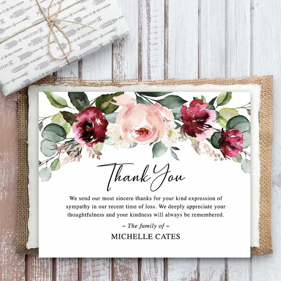 Memorial White /& Gold Watercolor Floral Sympathy Printable digital file or printed invitations Funeral Thank You Notecards
