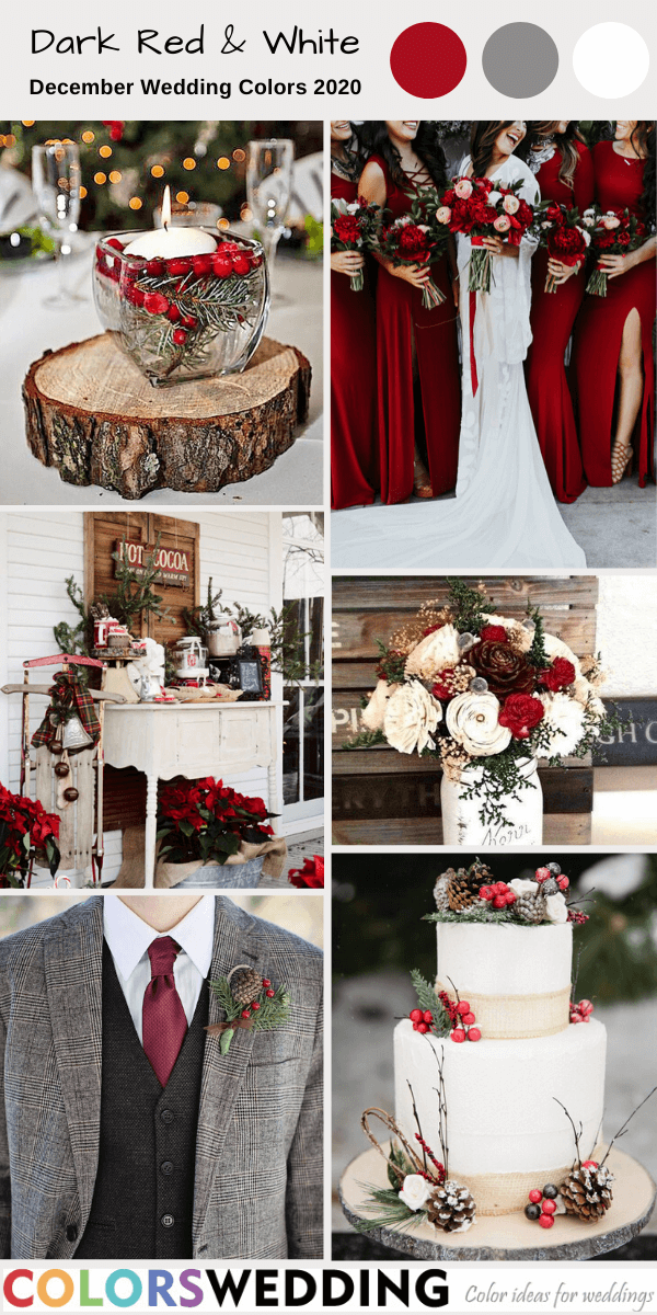 Top 8 December Wedding Color Combos For 2020 In 2020 December Wedding Colors Red Wedding Theme Dark Red Wedding