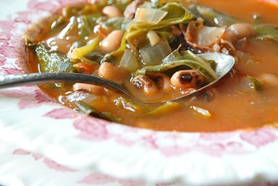 Black-Eyed Pea and Collard Green Soup - Three Many Cooks