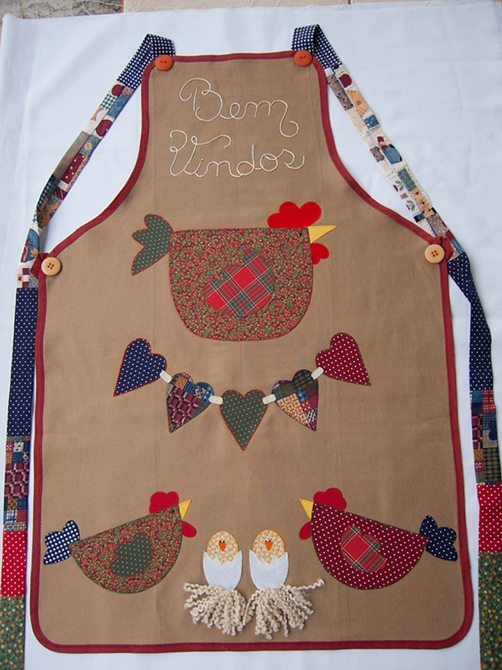 Lencer a de cocina patchwork o aplicaci n gallinitas delantal de cocina delantales - Patchwork para cocina ...