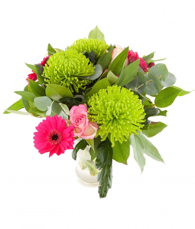 Bouquet De Fleur Avec Fudji Vert Et Gerbera Rose Le Jardin D Andree