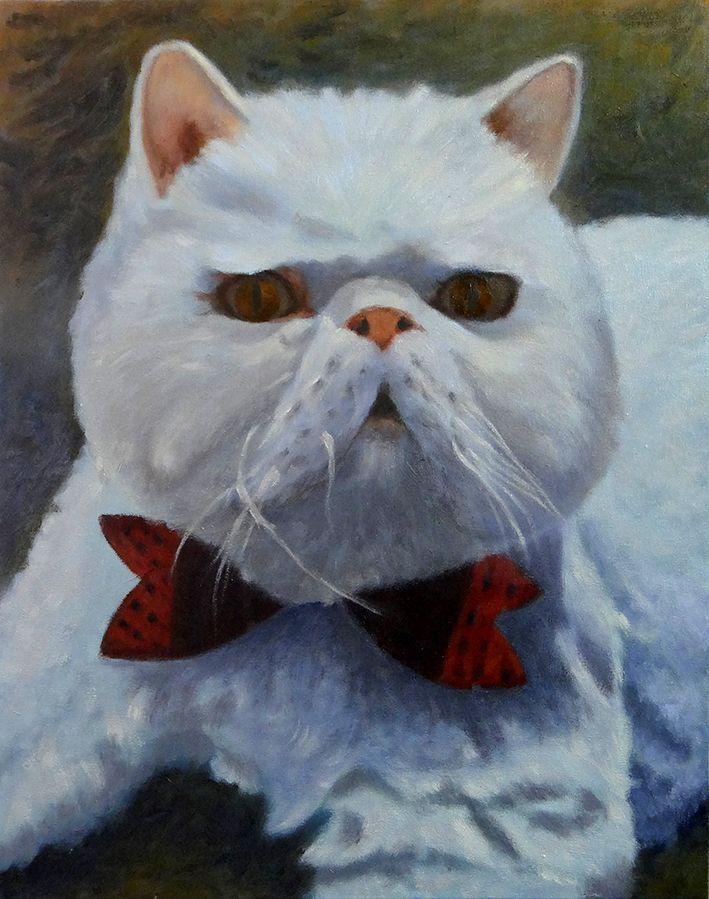 Geraldo Rodrigues - 2015 - Gato - Sheik - Laura Mussi - óleo sobre tela Dimensões: 0,40m x 0,50m