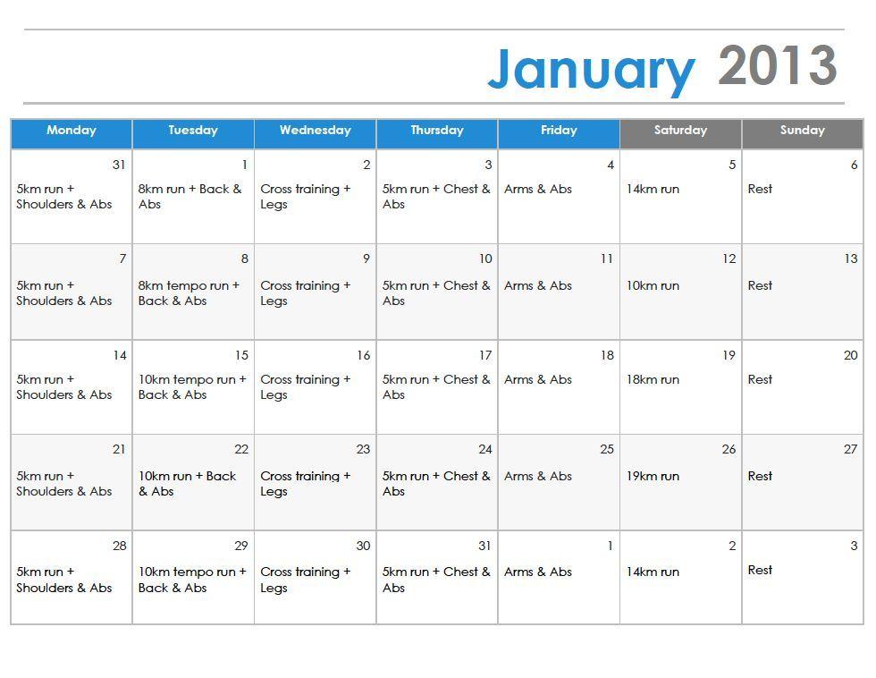Winter Training Schedule Training Schedule Train Marathon