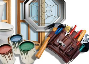 paint tins and tools