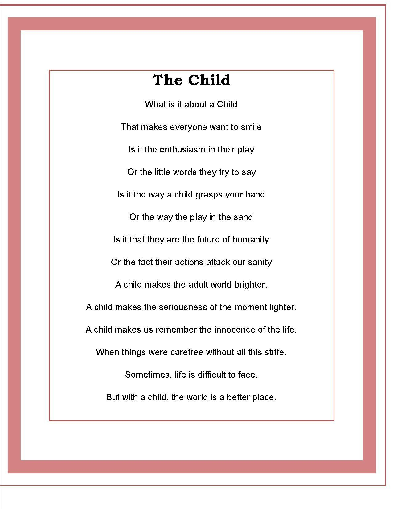 the child poem by todd kaudy