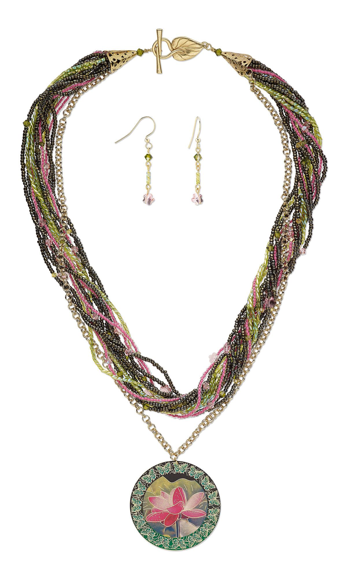 Jewelry design multistrand necklace and earring set with seed
