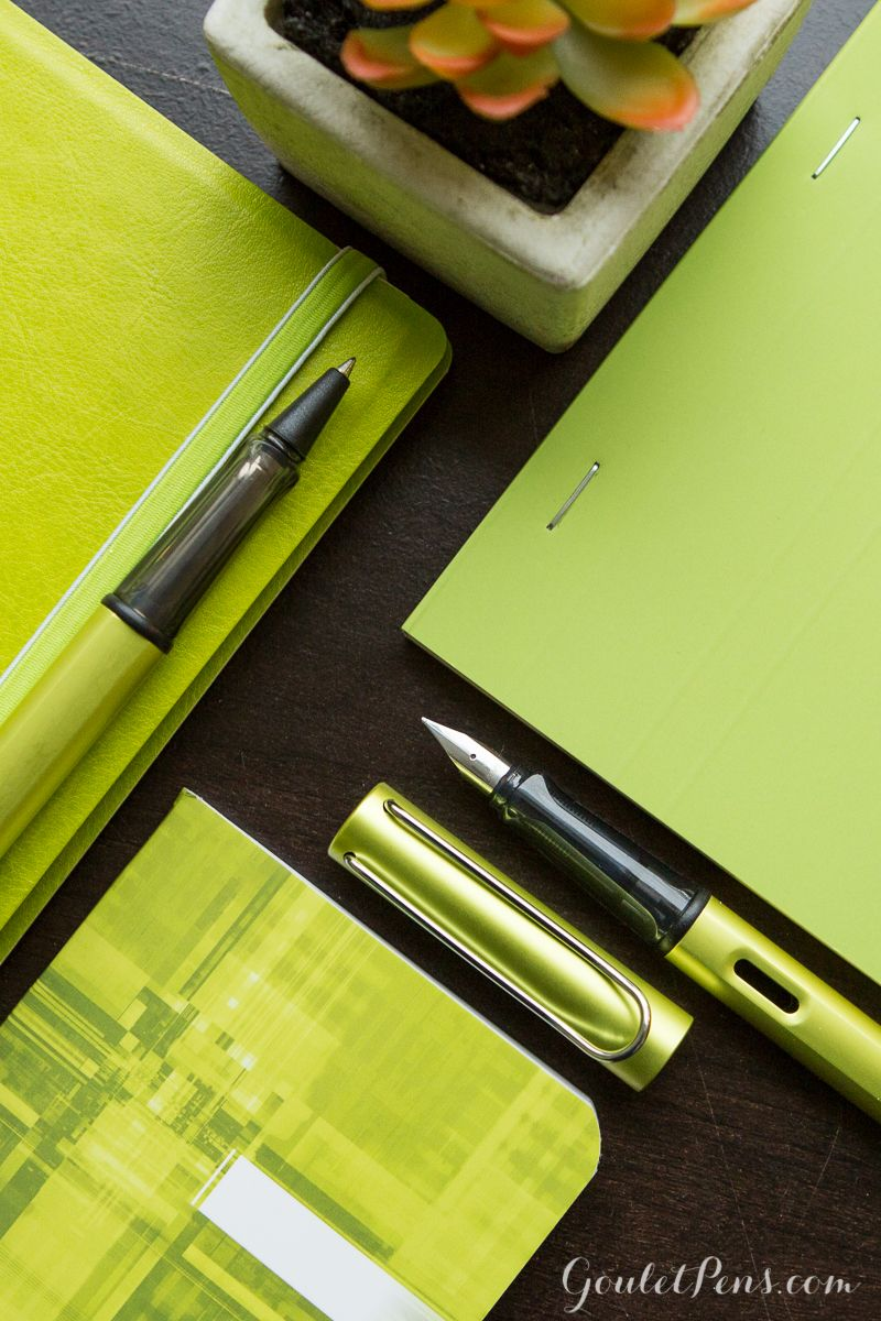 The Lamy Charged Green fountain pen and rollerball are great for green writing!
