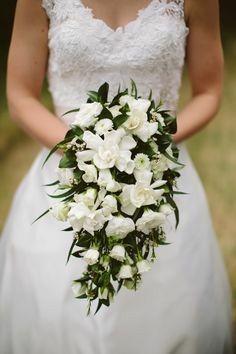 Green White Cascading Bridal Bouquet White Roses White