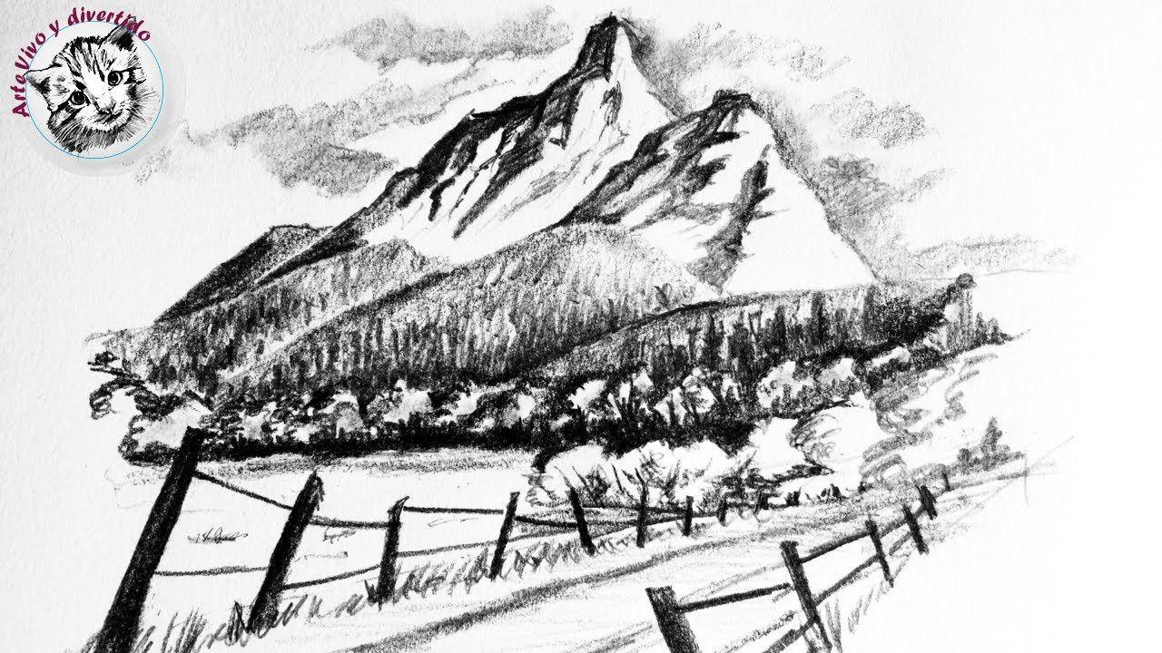 Como Dibujar Un Paisaje Facil A Lapiz Con Montanas Y Bosques Paso A Paso Bosques Para Dibujar Tecnicas De Dibujo Cosas Dificiles De Dibujar