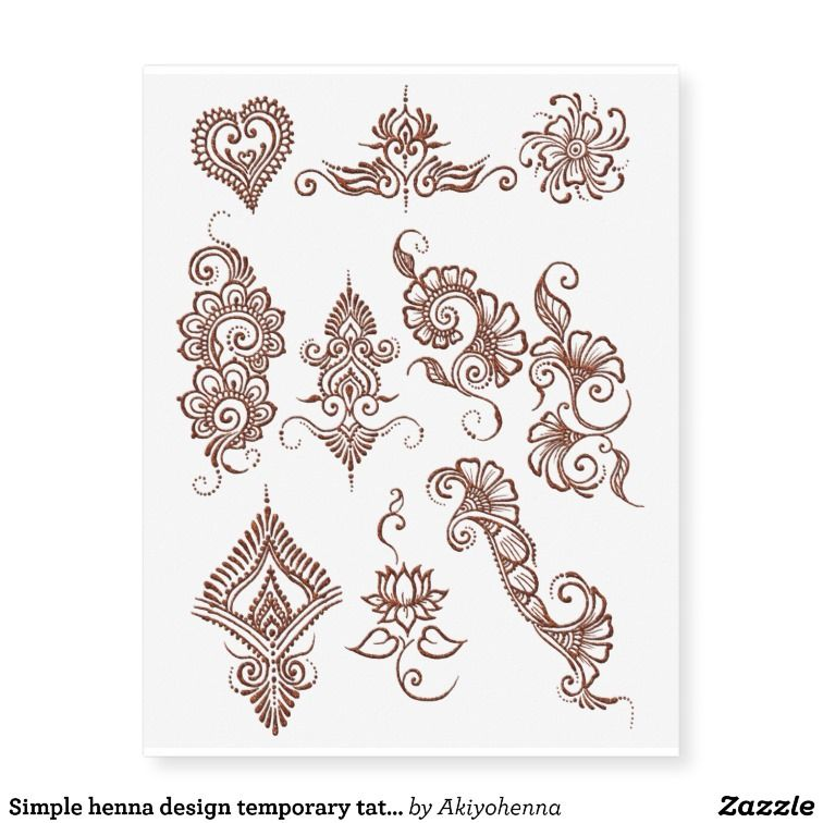 Simple henna design temporary tattoo sheet- Copper | Zazzle.com