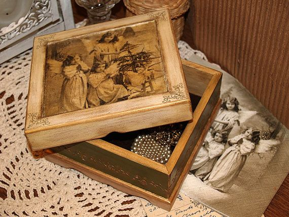 Decoupaged jewelry box   Vintage Christmas  by HandmadeDecoupage, $43.00