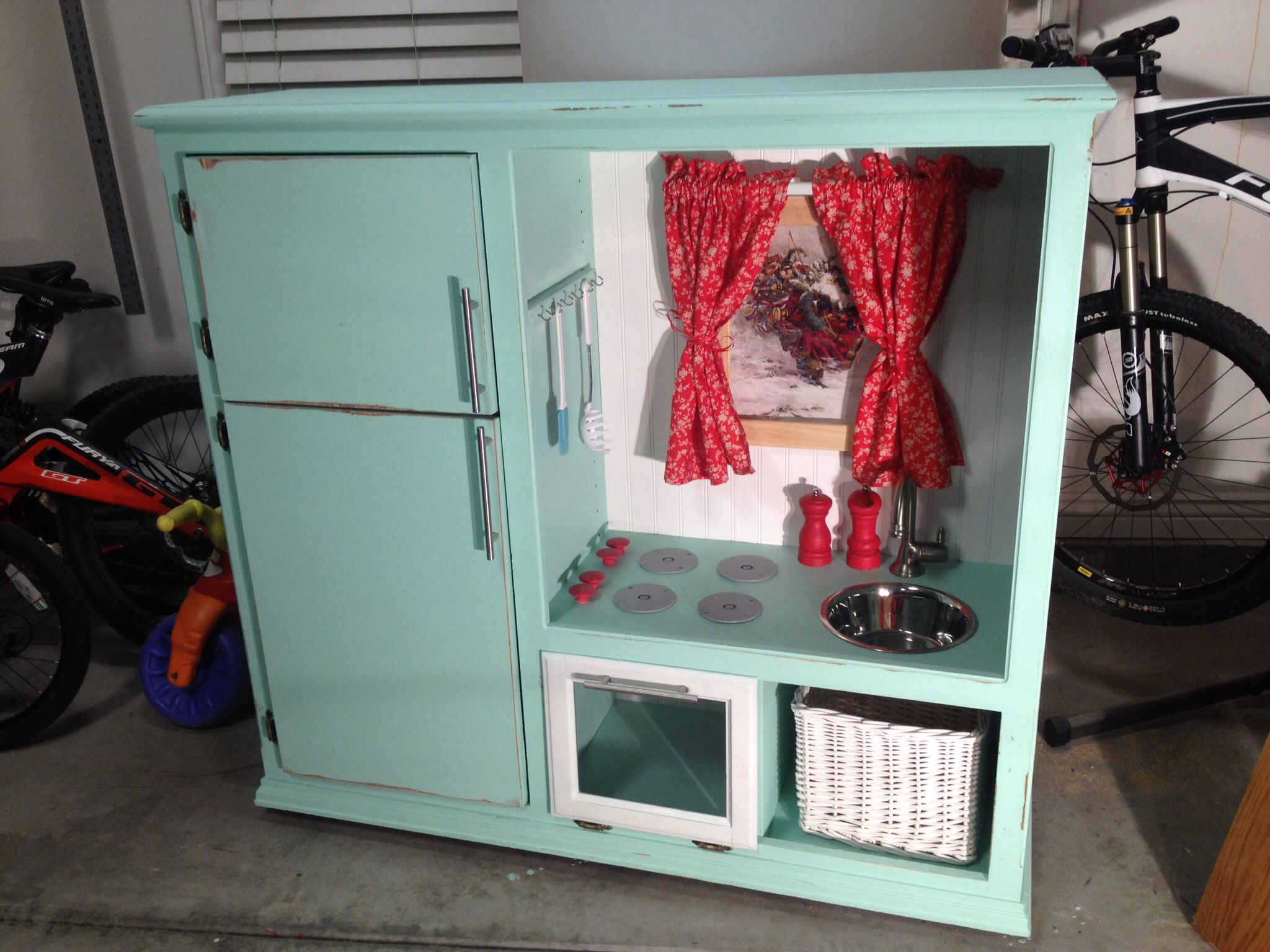 Play kitchen from entertainment center. I did it! | Play Kitchen ...