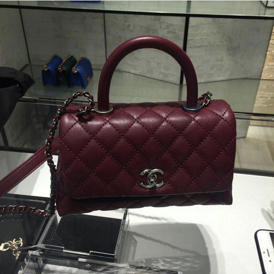 91bf237bebd1 Chanel Burgundy Coco Handle Small Bag | Fashion in 2019 | Bags, Coco ...