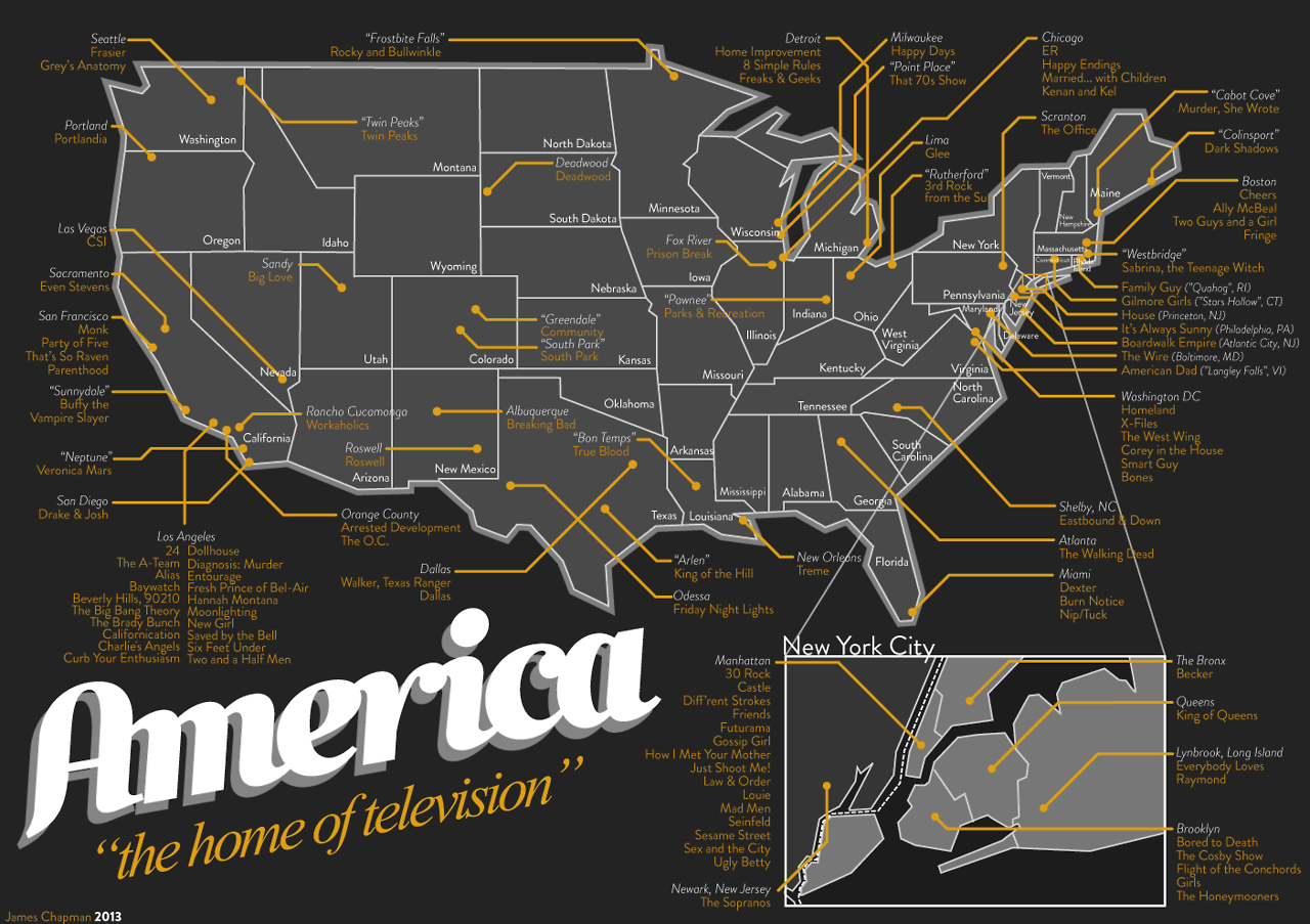 Map Of United States Showing Arizona%0A A Map of Television Show Locations in America