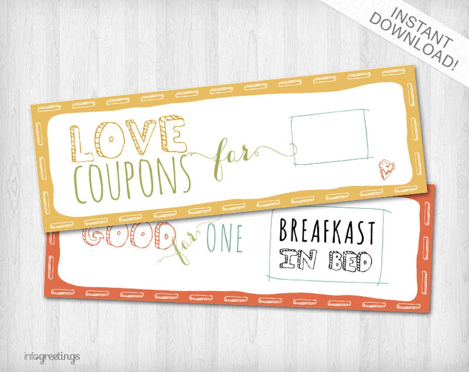 PRINTABLE Love Coupons for Him - INSTANT DOWNLOAD