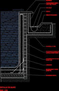 Detalle muro piscina dwgdibujo de autocad pileta for Detalle constructivo piscina