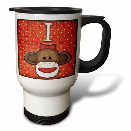 3dRose Cute Sock Monkey Girl Initial Letter I, Travel Mug, 14oz, Stainless Steel