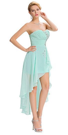 Grace Karin Short Front Long Back Evening Dress Pale Turquoise ...