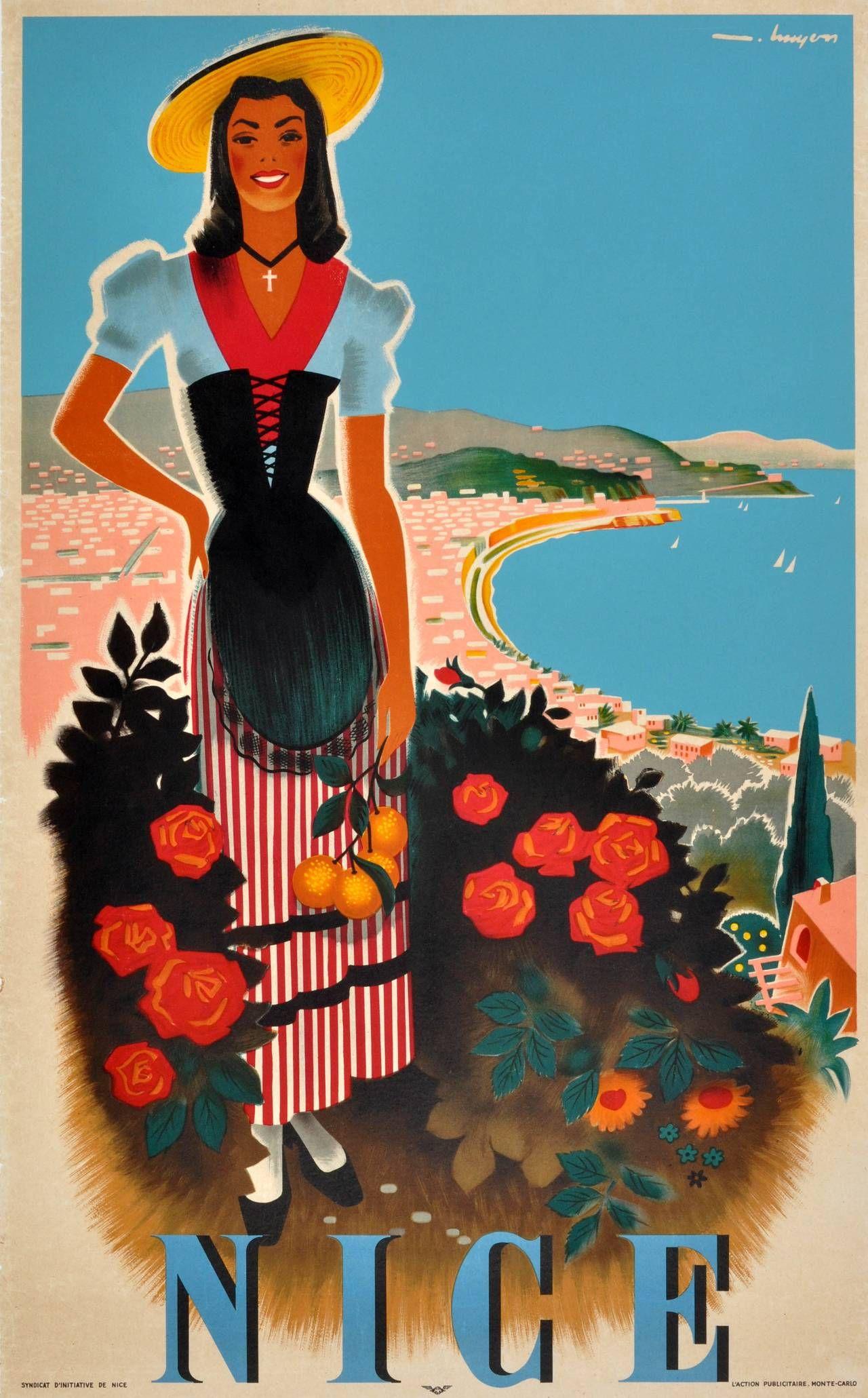 Poster design 1950 - Original Vintage 1950s Travel Poster Nice Cote D Azur French Riviera France