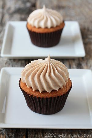 Pumpkin cupcakes with cinnamon cream cheese frosting- My Baking Addiction
