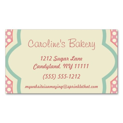 Baking and bakery boutique pink polka dot business cards make your baking and bakery boutique pink polka dot business cards make your own business card reheart Choice Image