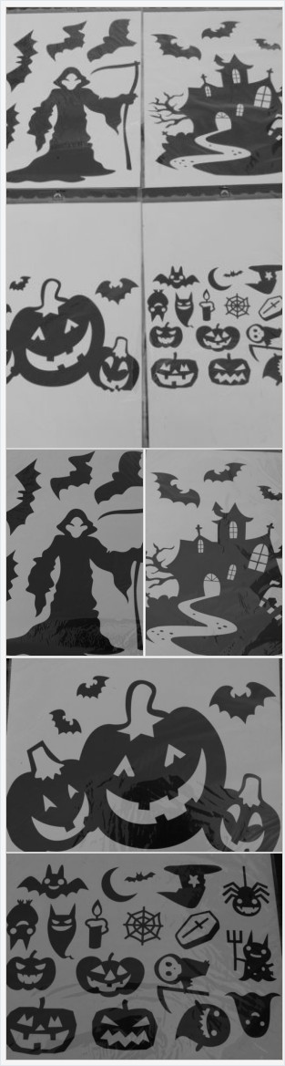 Details about Halloween Window Wall Decals Clings Jumbo Black - halloween window clings
