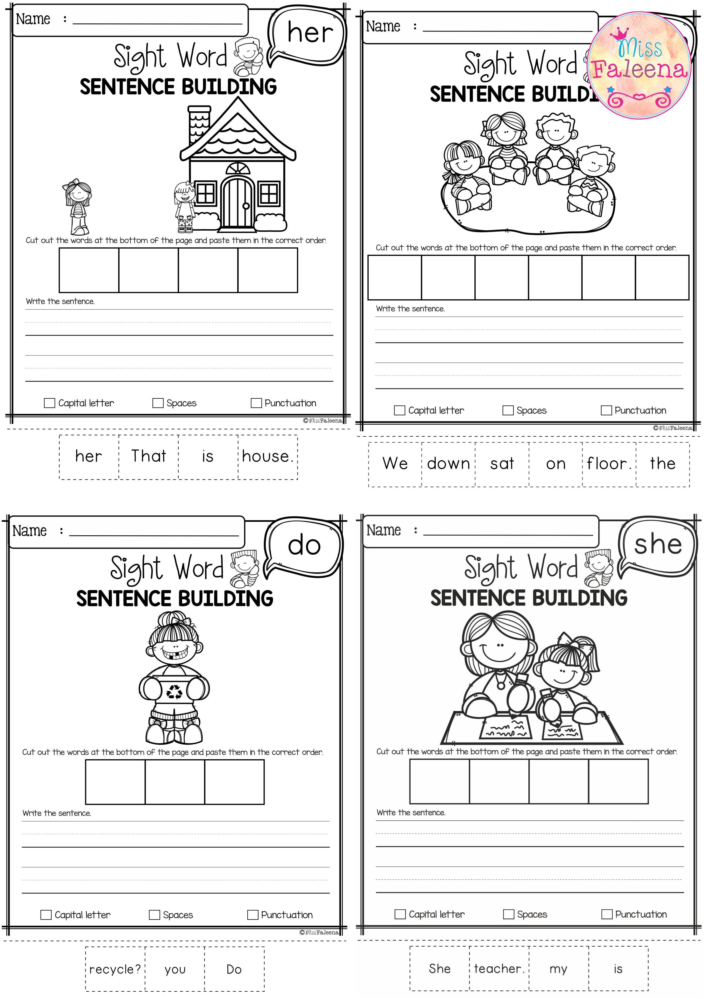 Free Sight Word Sentence Building
