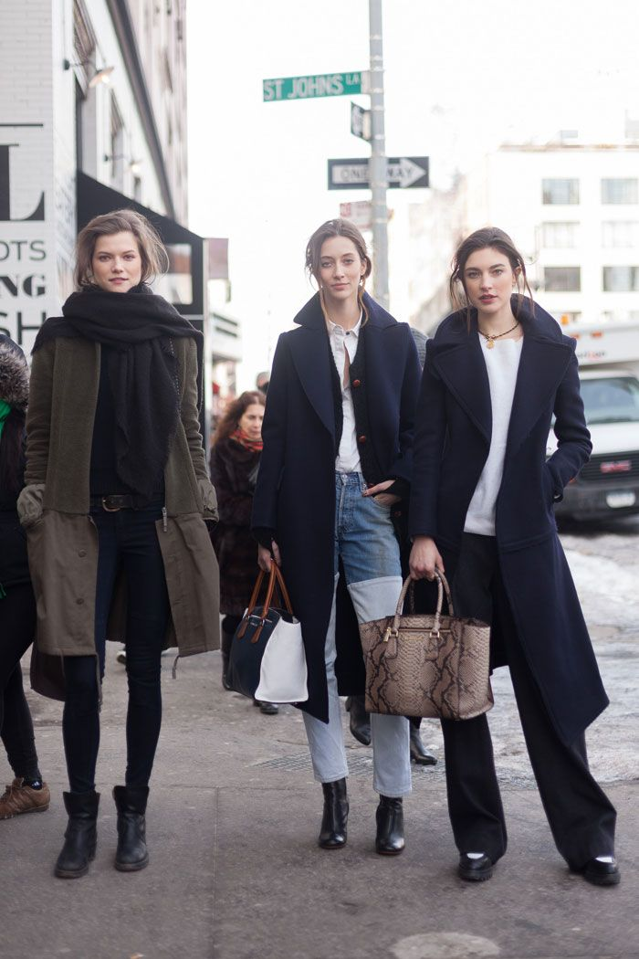 Kasia Struss , Alana Zimmer and Jacqueliyn Jablonski New York Fashion Week autumn winter 2014-15 #NYFW #StreetStyle www.redreidinghood.com