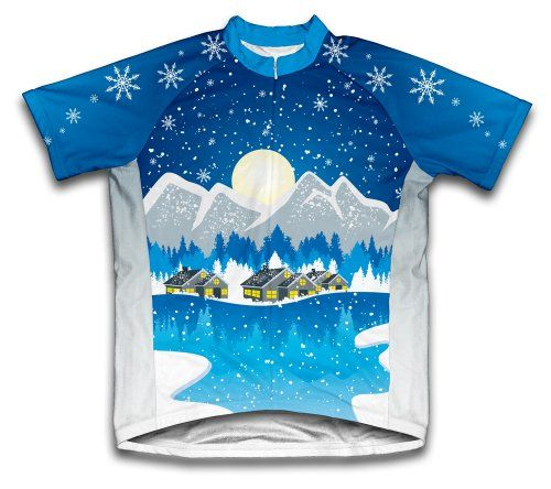 Winter wonderland Short Sleeve Cycling Jersey for Men  Size L >>> See this great product.Note:It is affiliate link to Amazon.
