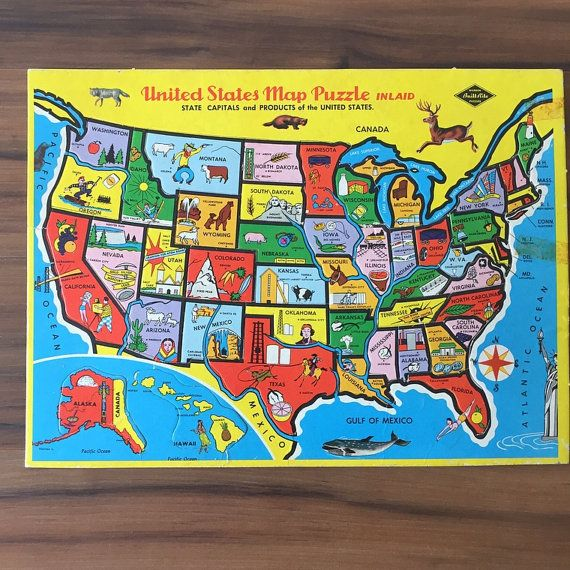 United States Map Vintage Puzzle, Inlaid Jigsaw, Built Rite ...