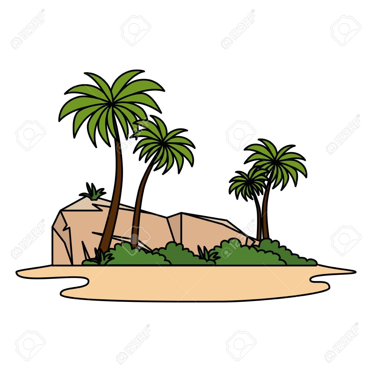 Tree Palms Scene Icon Vector Illustration Design Affiliate