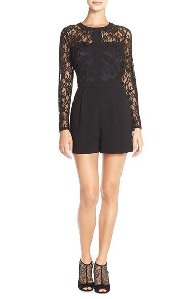 Adelyn Rae Lace & Crepe Romper available at #Nordstrom