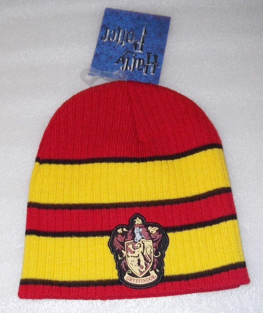 63ff3f60d23 Harry Potter Gryffindor Crest Gold Red Striped Knit Beanie Hat Skull Cap   Beanie