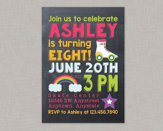 Roller Skating Invitation, Roller Derby, Roller Skating Party, Roller Skating Party Invitations