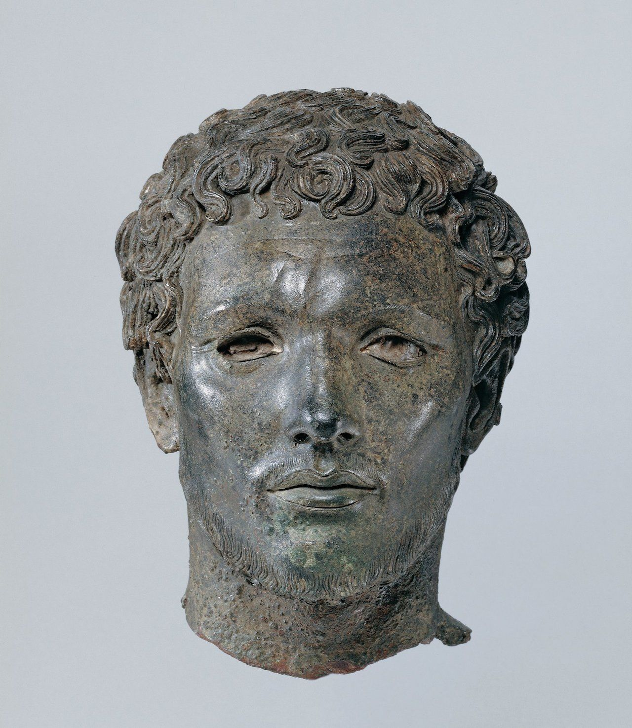 Head (Berber) (300 BCE), Greek bronze & bone (courtesy the Trustees of the British Museum)