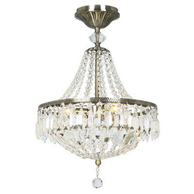 Litecraft lecce 3 light semi flush ceiling light antique brass debenhams