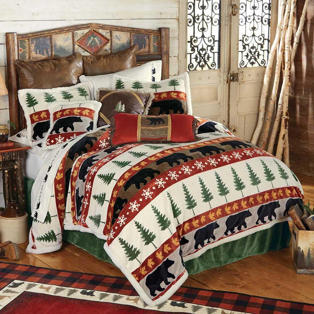 Cabin Bedspread Bear Adventure Fleece Bedding Set Cabin Bed Rustic Bedding Black Forest Decor